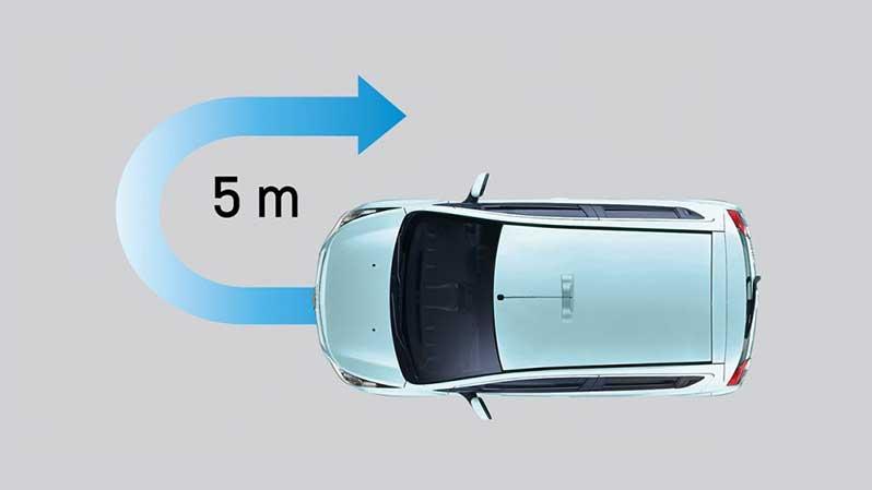 Bán kính quay vòng tối thiểu chỉ 5m - thuận tiện khi quay đầu xe